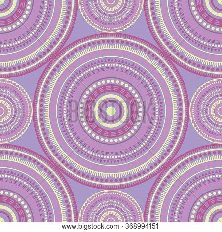 Ottoman Ethnic Motifs Seamless Pattern. Circle Medallion Mandala Geometric Tiles. Textile Print Temp