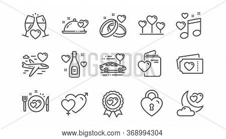 Honeymoon Line Icons Set. Marriage Rings, Wedding Car, Love. Bridal Champagne, Valentine Heart Icons