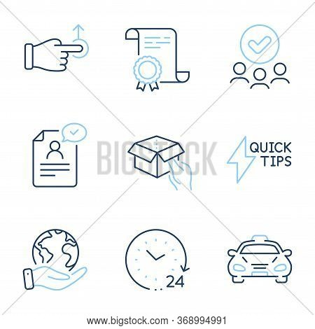 Quickstart Guide, Drag Drop And Resume Document Line Icons Set. Diploma Certificate, Save Planet, Gr