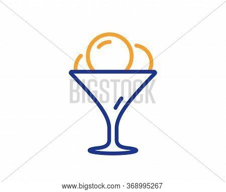 Ice Cream In Glass Line Icon. Vanilla Sundae Sign. Frozen Summer Dessert Symbol. Colorful Thin Line