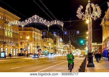 St. Petersburg, Russia - January 5, 2020: Nevsky Prospect At Saint Petersburg Is Decorated A Bright