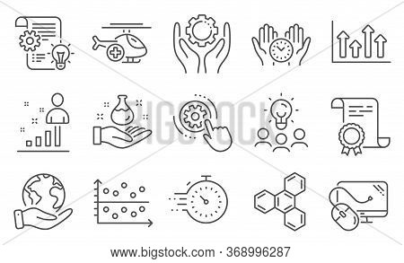 Set Of Science Icons, Such As Timer, Medical Helicopter. Diploma, Ideas, Save Planet. Stats, Safe Ti