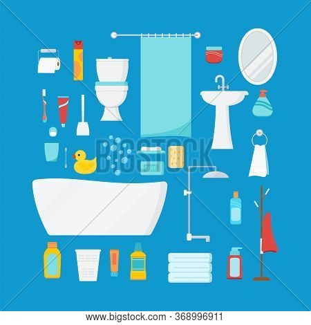 Bathroom Set With Bath And Beauty Cosmetic Products Isolated On Blue Background. Bathroom Furniture,