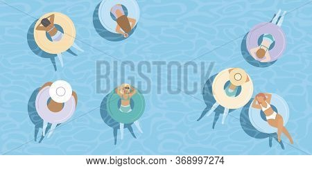 Young Girls Floating On Colorful Inflatable Rings In Blue Pool Water. Top Aerial View. Flat Vector C