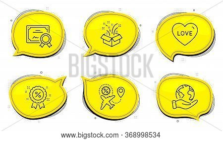 Discount Sign. Diploma Certificate, Save Planet Chat Bubbles. Flight Sale, Gift And Love Line Icons