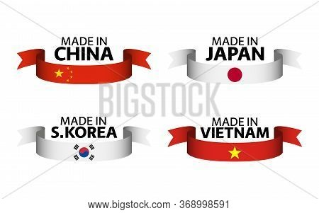 Set Of Four Chinese, Japanese, South Korean And Vietnamese Ribbons. Made In China, Made In Japan, Ma