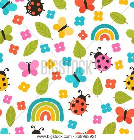 Colorful Summer Seamless Pattern With Hand Drawn Elements. Rainbow, Flowers, Ladybug. Cute Print For