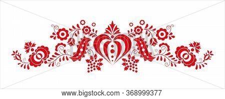 Traditional Folk Ornament. Czech Ornament From Region Podluzi. Floral Embroidery Decorative Symbol I