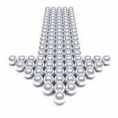 Grey arrow consisting of metal balls on a white background poster