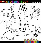 Coloring Book or Page Cartoon Illustration of Funny Farm and Livestock Animals for Children poster