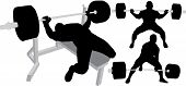 Powerlifters silhouettes: Push Up, Sit Up And Deadlift poster