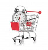 Buying time concept with clock and shopping cart poster