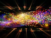 Design composed of atomic particles in space as a metaphor on the subject of science physics and technology poster