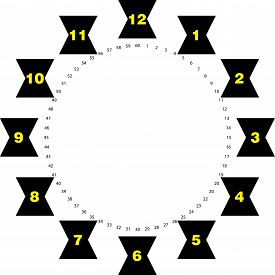 Clock Dial Yellow Numbers Hourly On Black Black Clepsydras And Black Seconds On Transparent Backgrou