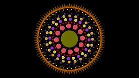Art Dot Fade Circle And Outside Small Thorn Yellow Orange Tone On Black Isolated