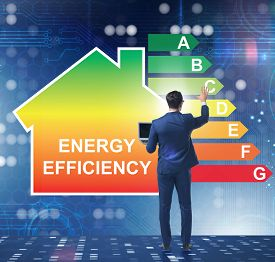 Businessman in energy efficiency concept