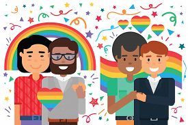 Homosexual Male Couples Happy Hug, Lgbt Protection