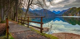 Picturesque view at Alpsee, in the Ostallgäu district of Bavaria, Germany