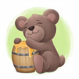 Cute Little Bear Hugs A Keg With Honey. Digital Illustration