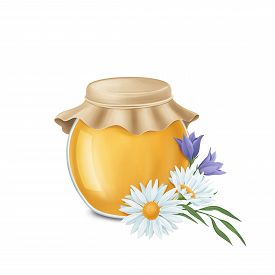Jar Of Honey With A Bouquet Of Meadow Flowers. Digital Illustration