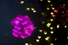 Abstract Bokeh And Blur Heart Shape Love Valentine Colorful Night Light On Wall