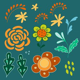 Set Of Flowers And Leaf  Elements In Scandinavian Style. Hand Drawn Natural Color Flat Clip Arts For