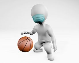 Fatty Man With A Mask Playing Basketball, 3d Rendering Isolated On White