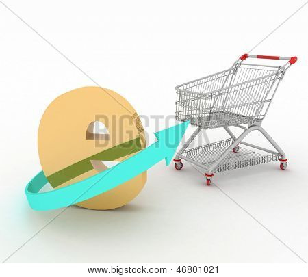 e-commerce sign with  a trolley on a white. 3d render illustration on white background.