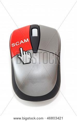 Hand Cursor Clicking On Scam Button