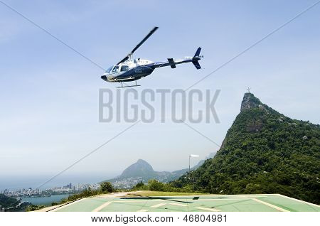Helicopter Taking Off in Rio de Janeiro