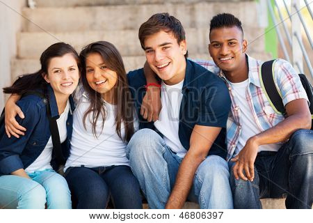 group of cheerful high school students friends poster