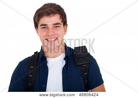 close up portrait of young smiling cute teenager boy on white background