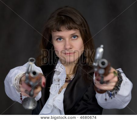 Girl - Pirate With Two Ancient Pistols In Hands