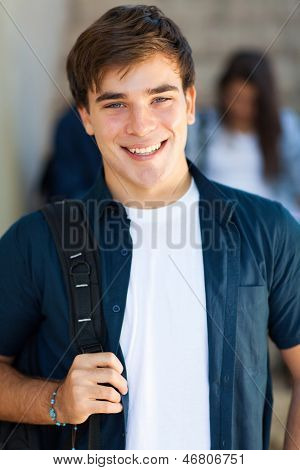 portrait of happy male high school student smiling