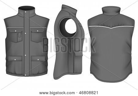 Men's body warmer design templates (front, back and side views). Vector illustration.