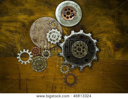 collection of cogs and gears steampunk background poster