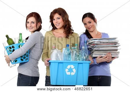Women recycling domestic waste