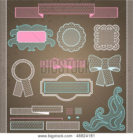 Decorative lace ribbon, bows and ornaments. This is file of EPS8 format. poster