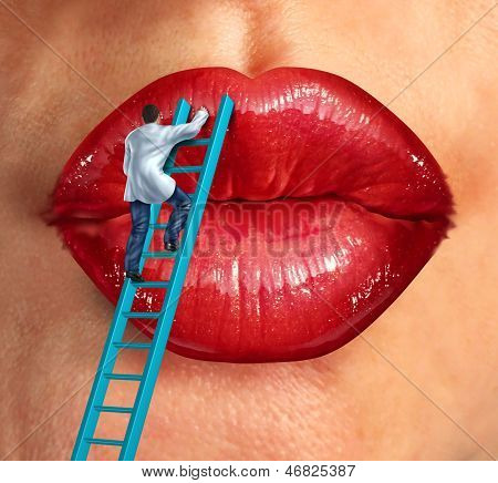 Plastic surgery and cosmetic improvement medical health care concept with a surgeon doctor climbing a ladder ti fix and restore human lips as an idea of fighting the aging process to retain beauty.s poster