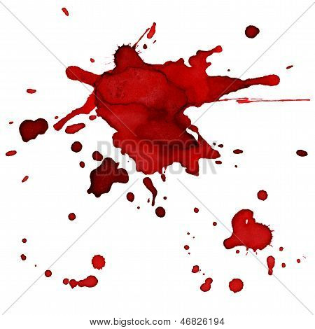 Bloody red blots - blobs painted by watercolor - white background poster