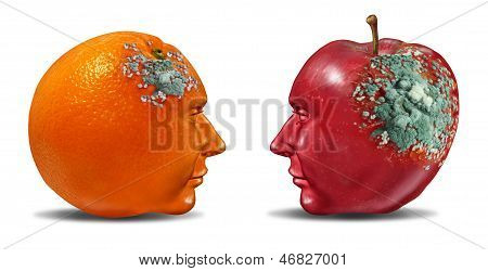 Bad partnership and mind control with an apple and an orange shaped as a human head with rotting mold as a business symbol of a brain or infection that is deteriorating a once strong partnership. poster