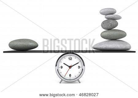 Zen Stones Balanced On A Clock