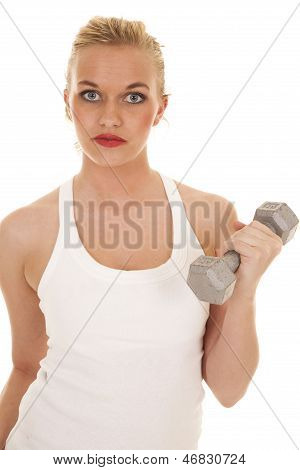 Woman White Tank Serious Fron One Weights