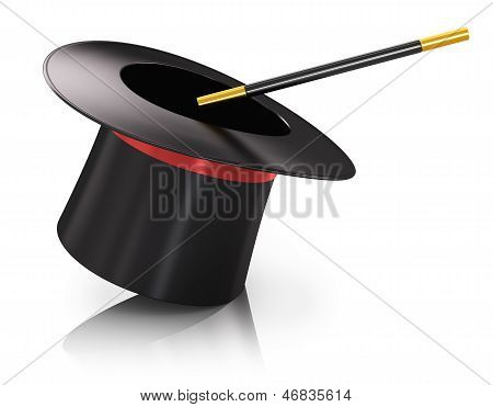 Black silk magic hat with red ribbon and magic wand stick isolated on white background with reflection effect poster
