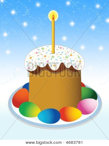 Easter Cake On A Blue Background