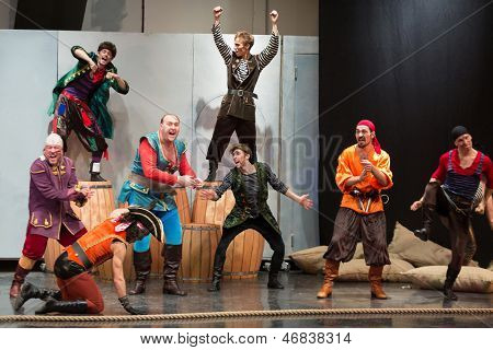 MOSCOW - OCT 18: A scene with pirates at open rehearsal of the musical Treasure Island in the Concert Hall Izmailovo on October 18, 2012 in Moscow, Russia.