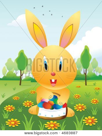 Easter Rabbit And Basket With Eggs