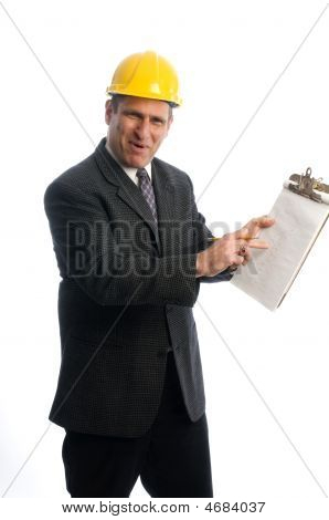 Excited Contractor With Clipboard