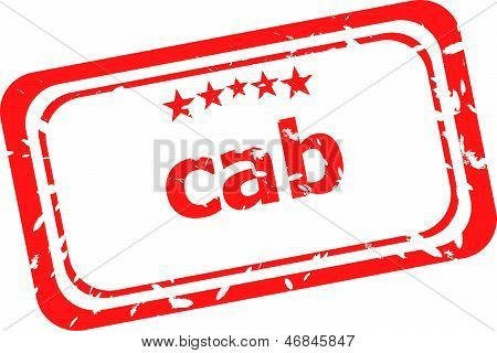 Cab On Red Rubber Stamp Over A White Background