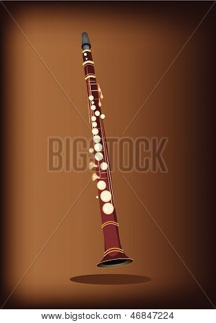 A Musical Clarinet On Dark Brown Background